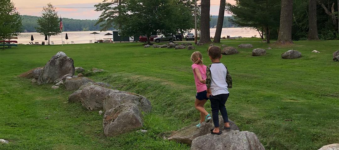Kids playing at Gilmore Camps on Kezar Lake